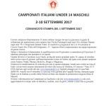 Campionati Italiani Under 14-Comunicato stampa del 1 settembre 2017