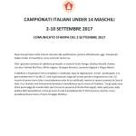 Campionati Italiani Under 14-Comunicato stampa del 3 settembre 2017