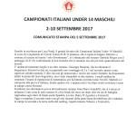 Campionati Italiani Under 14-Comunicato stampa del 5 settembre 2017