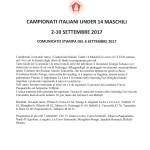 Campionati Italiani Under 14-Comunicato stampa del 6 settembre 2017
