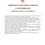 Campionati Italiani Under 14-Comunicato stampa del 7 settembre 2017