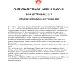 Campionati Italiani Under 14-Comunicato stampa del 8 settembre 2017