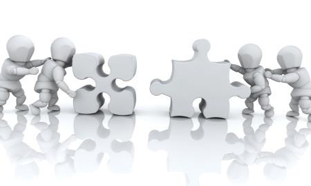 3D render of men solving jigsaw puzzles
