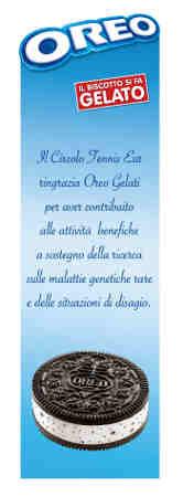 """(Il segnalibro Oreo gelati partner del CT EUR che ha contribuito alla realizzazione della """"Maratonina""""di solidarietà)"""
