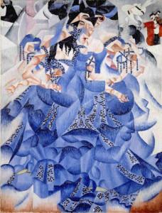 """""""La ballerina in blu"""", Gino Severini. 1912- Olio e lustrini su tela. 61x46- Collezione Mattioli"""