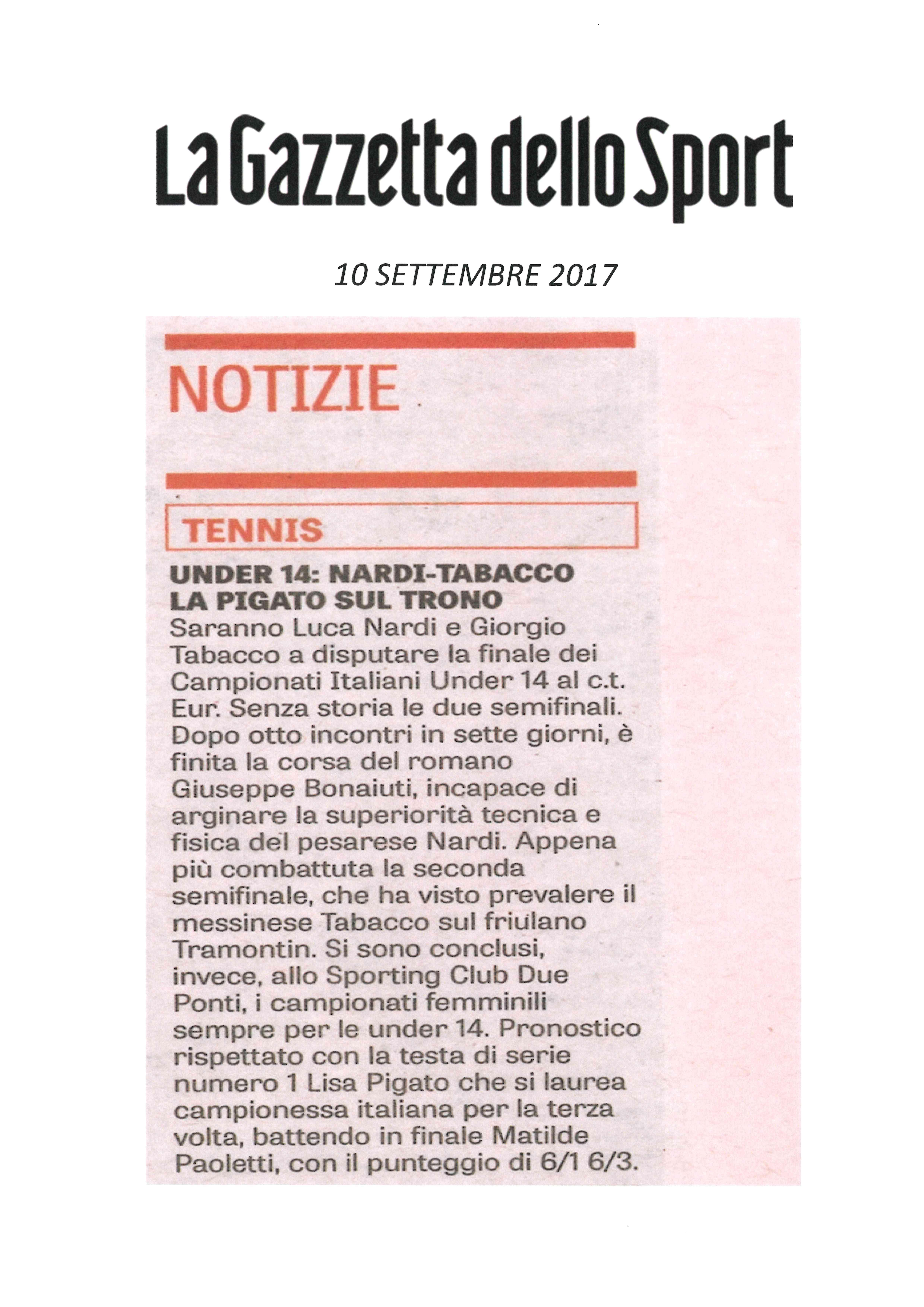 LA GAZZETTA DELLO SPORT 10 settembre 2017