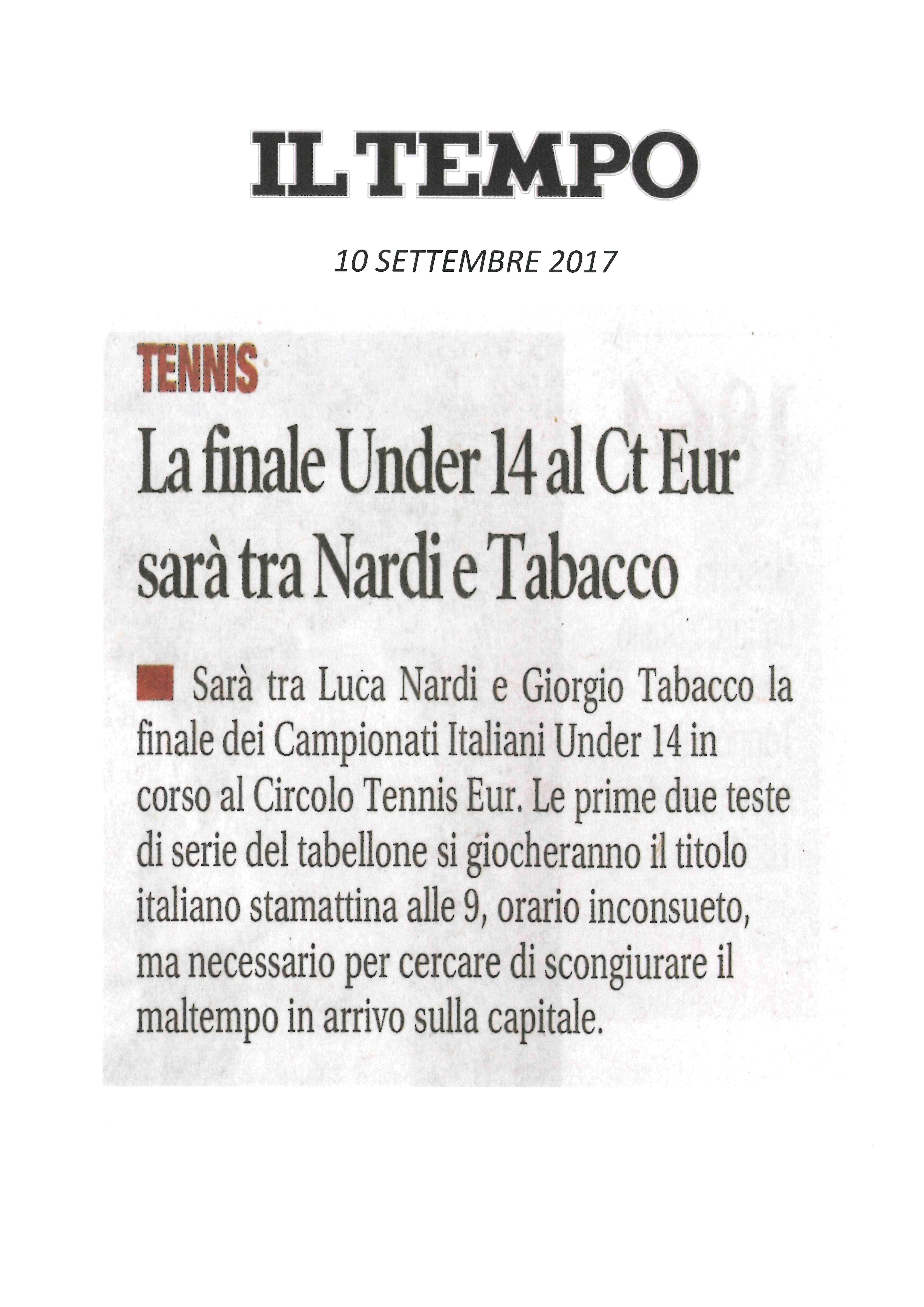 IL TEMPO 10 settembre 2017